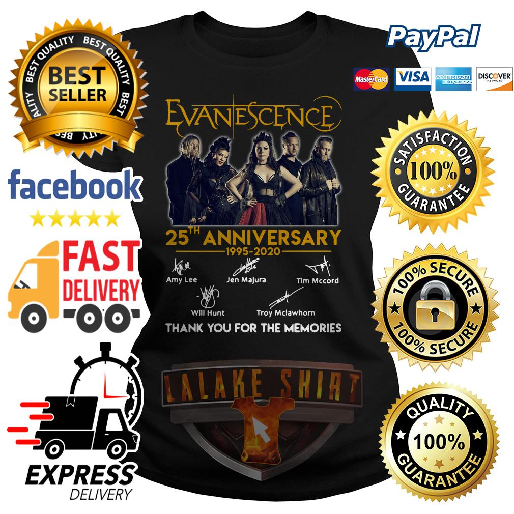 Evanescence 25th anniversary 1995 2020 thank you for the memories ladies tee