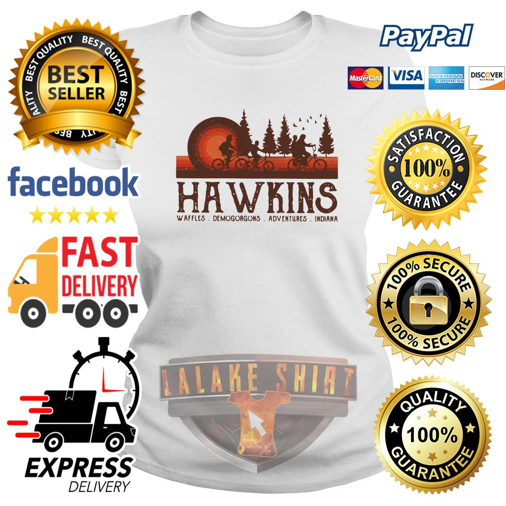 Hawkins Waffles Demogorgons Adventures Indiana Stranger Things ladies tee