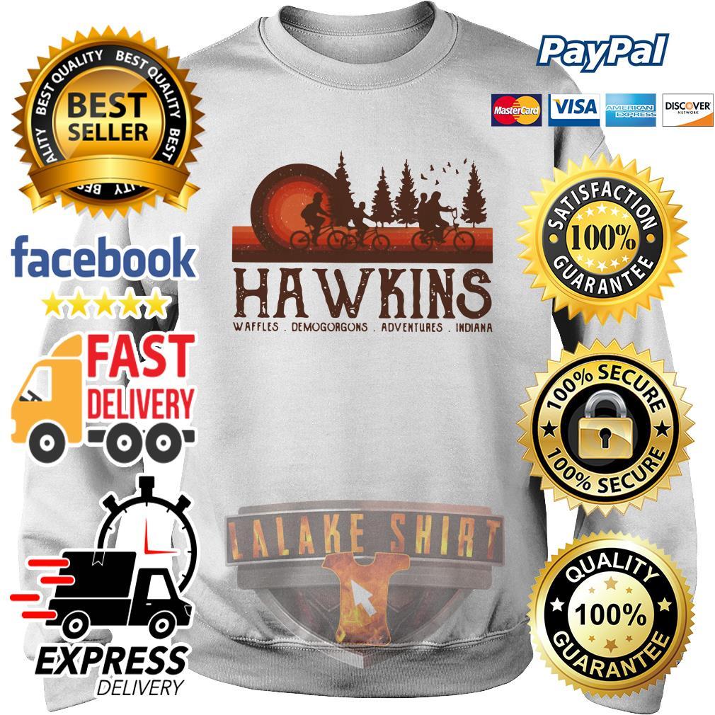 Hawkins Waffles Demogorgons Adventures Indiana Stranger Things sweater