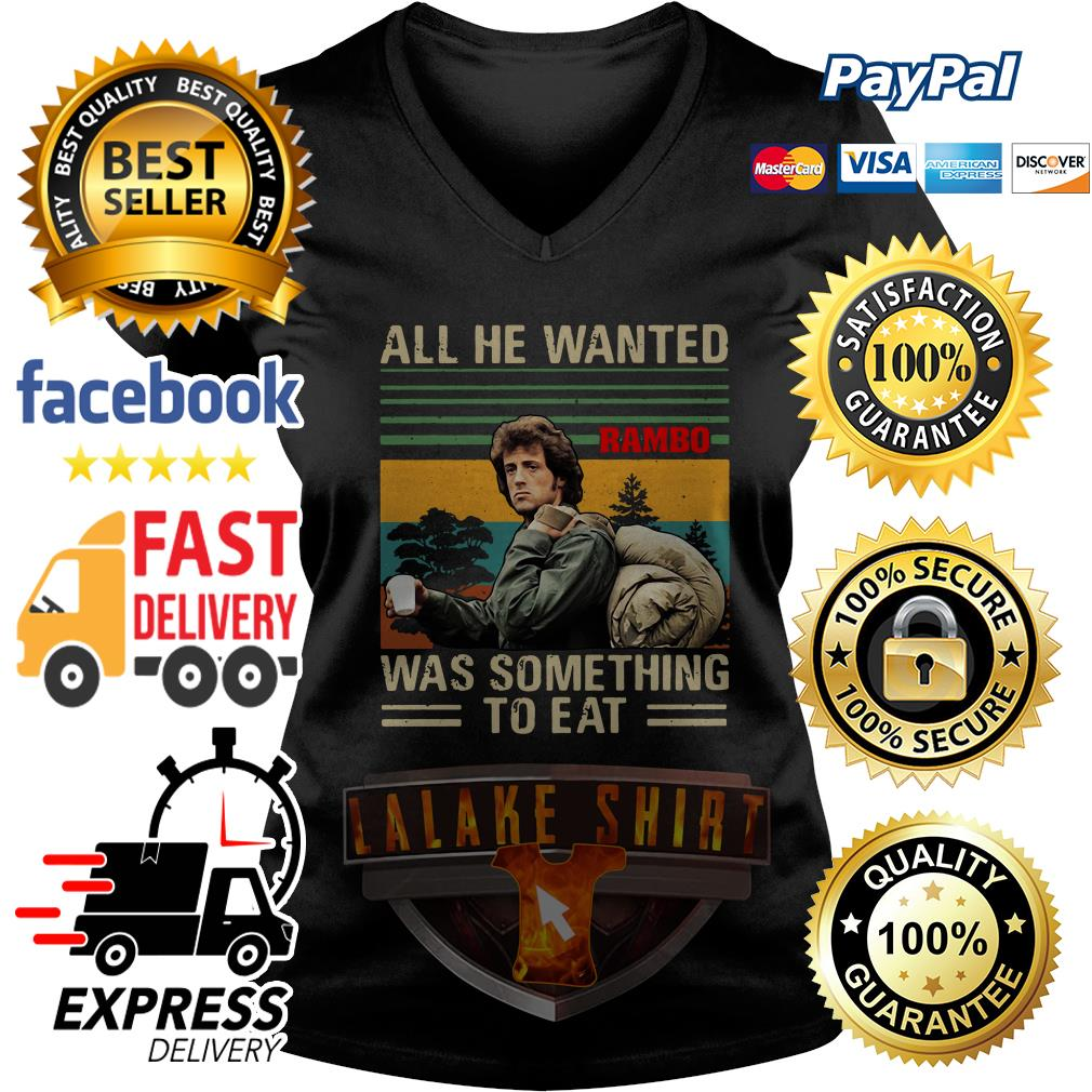 John Rambo All he wanted was something to eat vintage V neck T-shirt