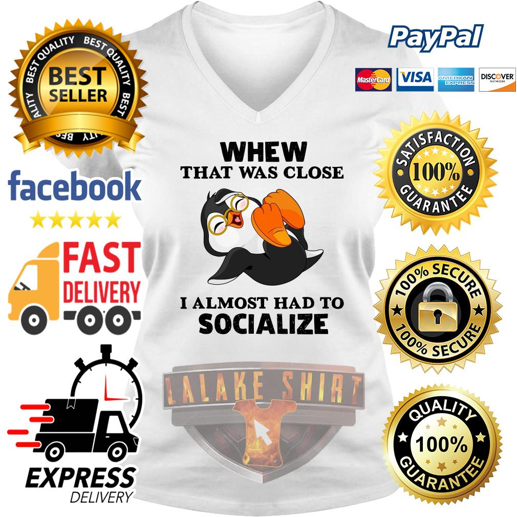 Laughing Penguin whew that was close I almost had to socialize V neck T-shirt