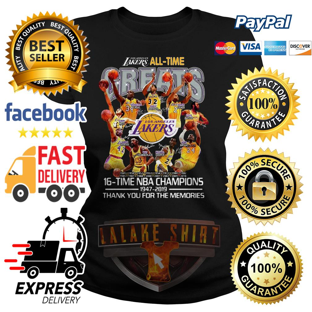 Los Angeles Lakers all time 16 time NBA champions ladies tee