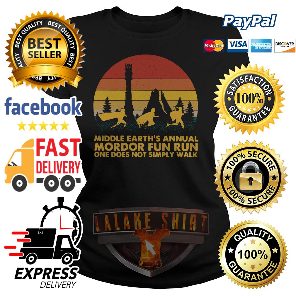 Middle earth_s annual Mordor fun run one does not simply walk sunset ladies tee