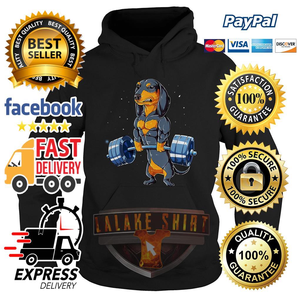 Pretty Dachshund weightlifting fitness gym hoodie