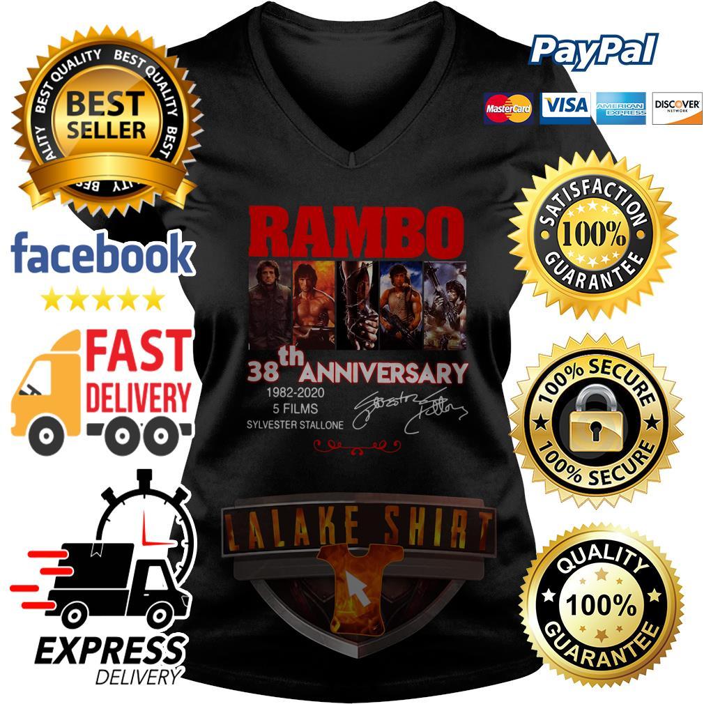 Rambo 38th anniversary 1982 2020 5 films Sylvester Stallone V neck T-shirt