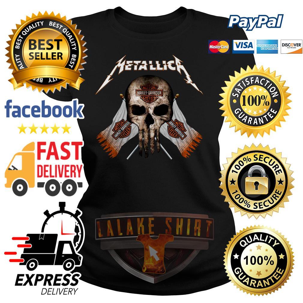 Skull Metallica Motor Harley Davidson cycles ladies tee