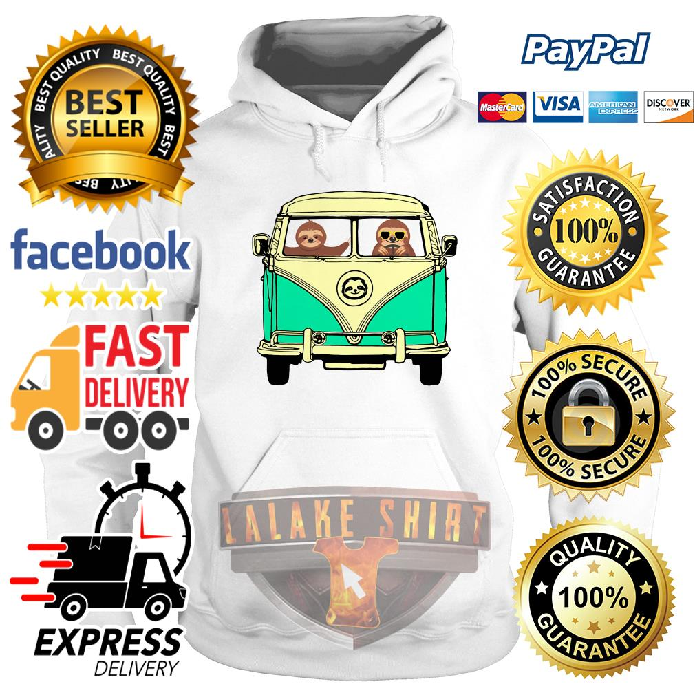 Sloths riding Campervan Bus hoodie