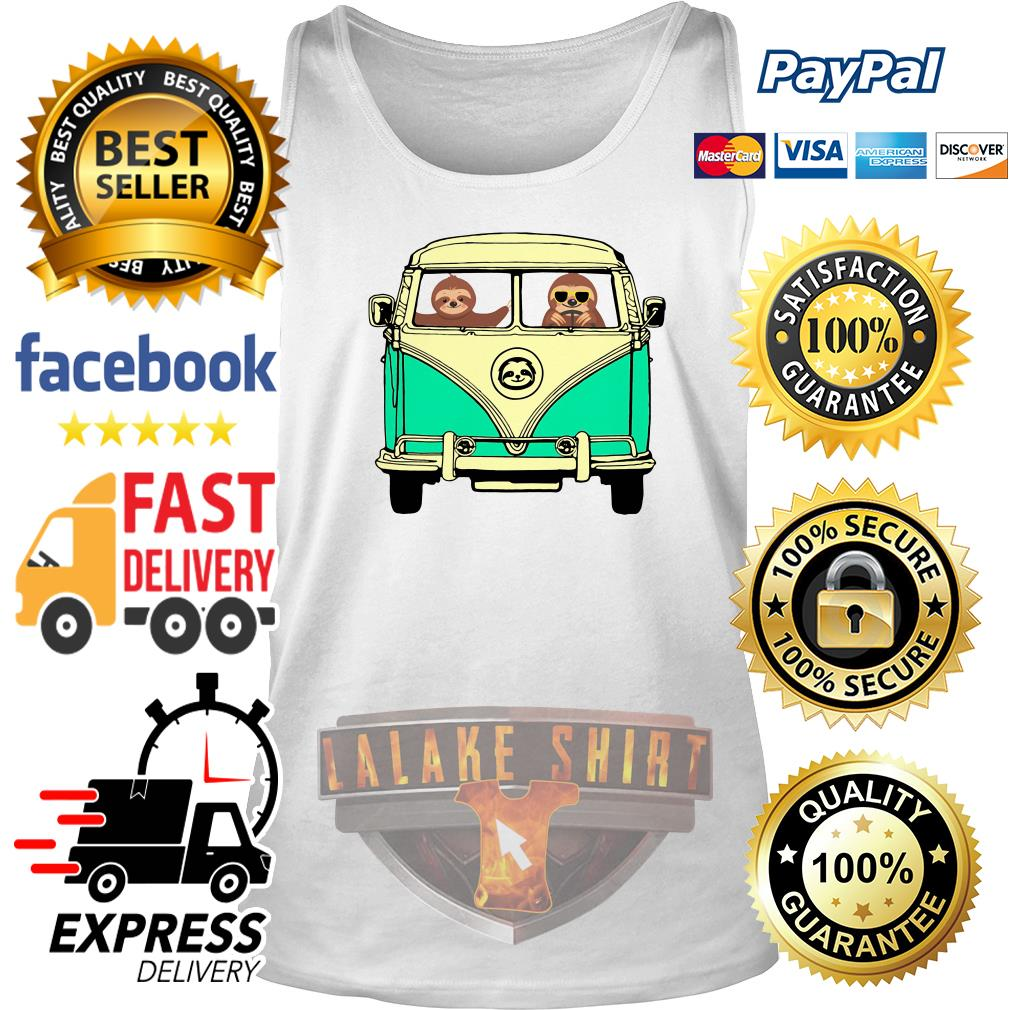 Sloths riding Campervan Bus tank top