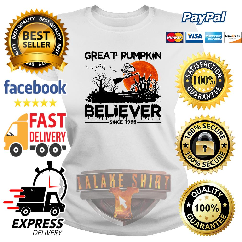 Snoopy Great pumpkin believer since 1966 Halloween ladies tee