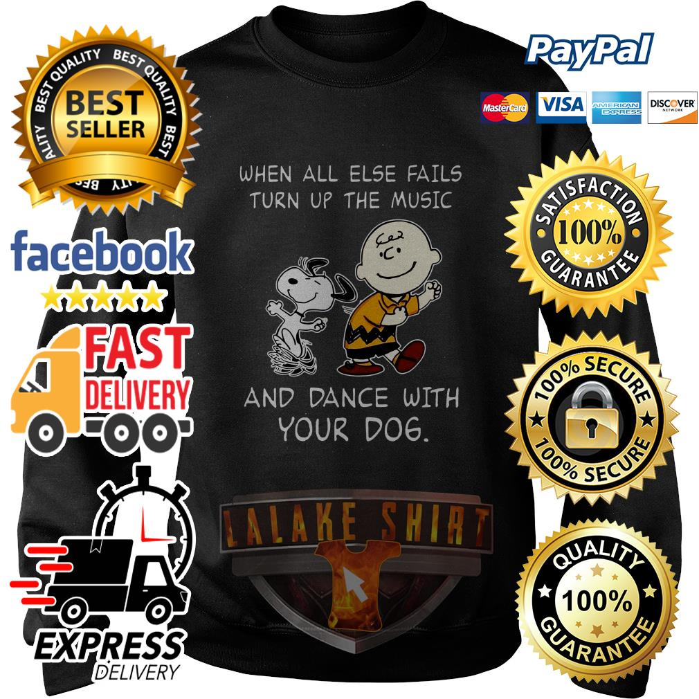 Snoopy and Charlie Brown When all else fails turn up the music and dance with your dog sweater