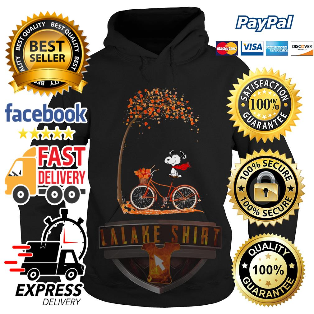 Snoopy riding bicycle autumn leaf tree Hoodie