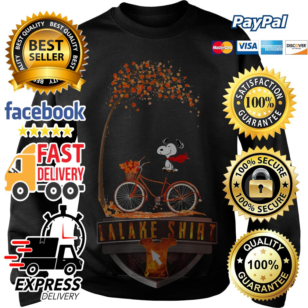 Snoopy riding bicycle autumn leaf tree Sweater