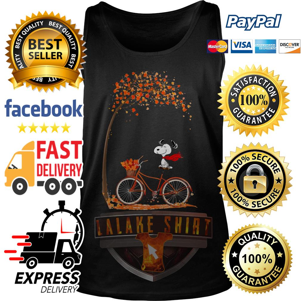 Snoopy riding bicycle autumn leaf tree Tank Top