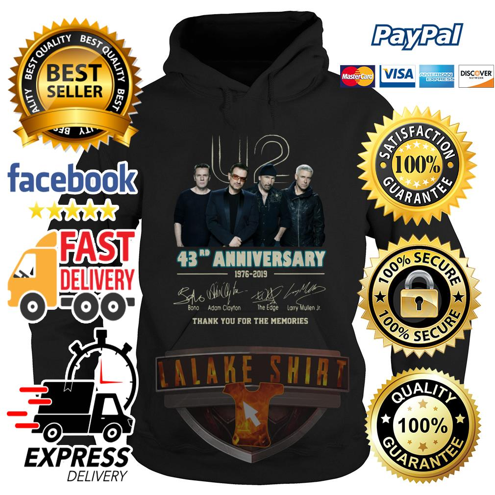 U2 43RD anniversary 1976 2019 thank you for the memories hoodie