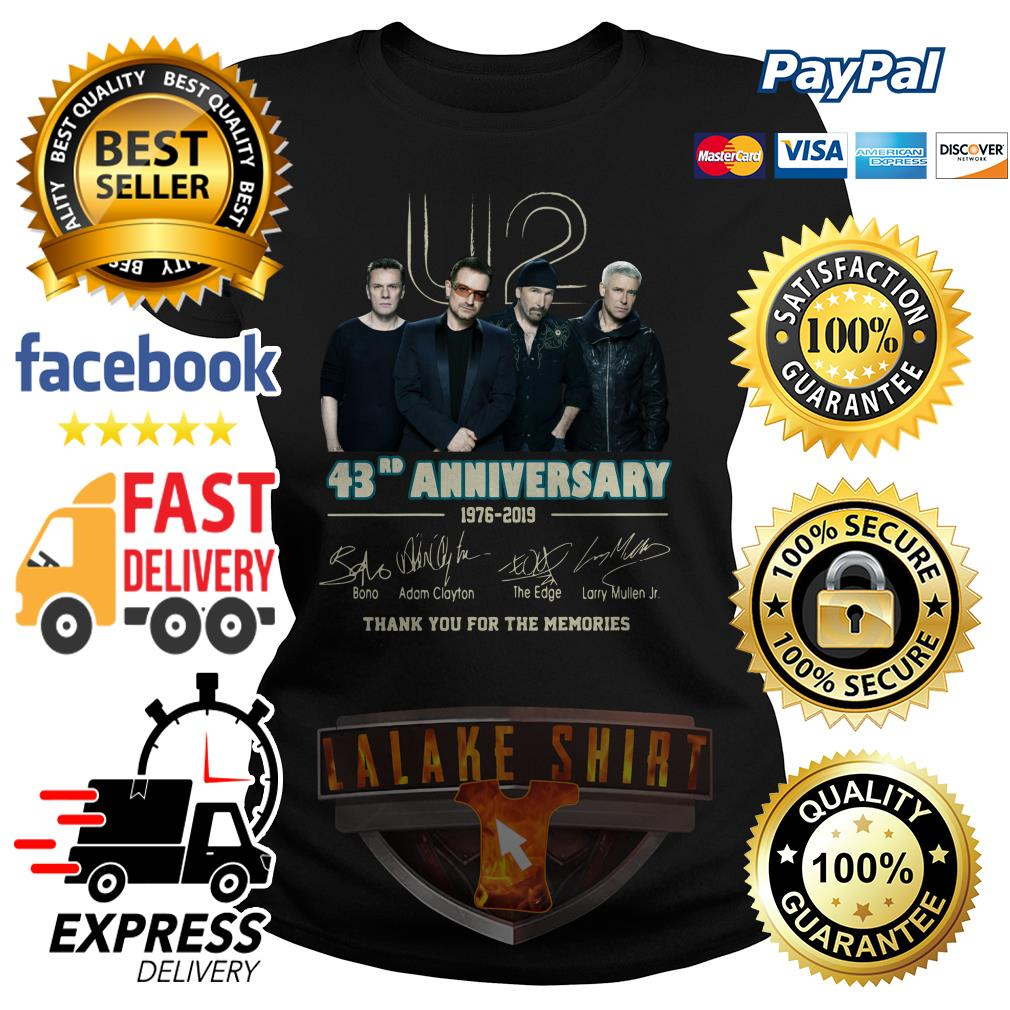 U2 43RD anniversary 1976 2019 thank you for the memories ladies tee