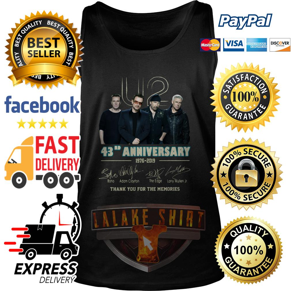U2 43RD anniversary 1976 2019 thank you for the memories tank top