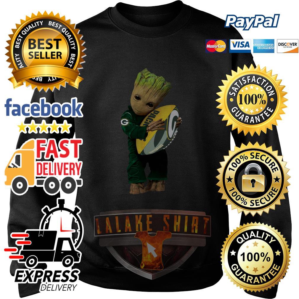Baby Groot hug Green Bay Packers sweater