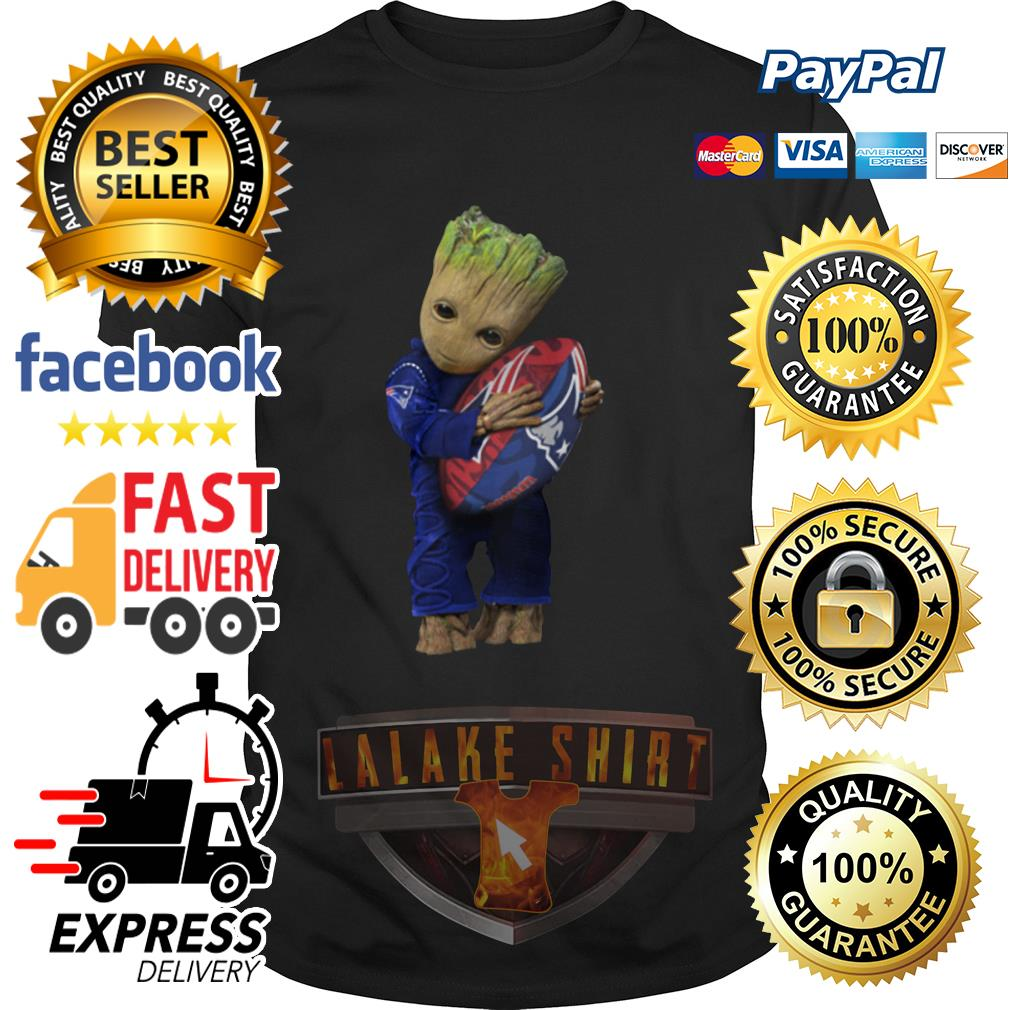Baby Groot hug New England Patriots shirt
