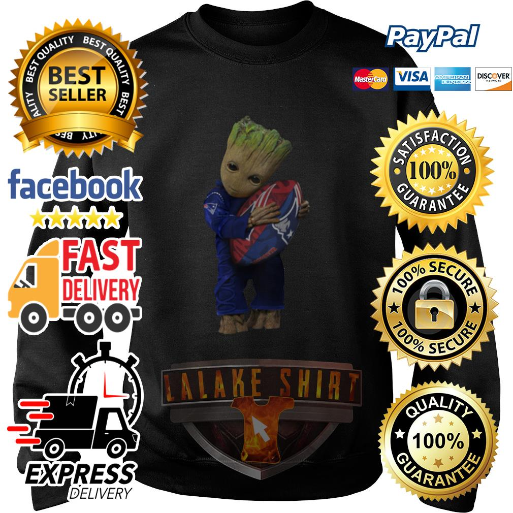 Baby Groot hug New England Patriots sweater