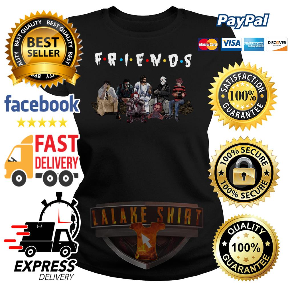 Halloween Friends TV Show horror movie characters and Jesus ladies tee