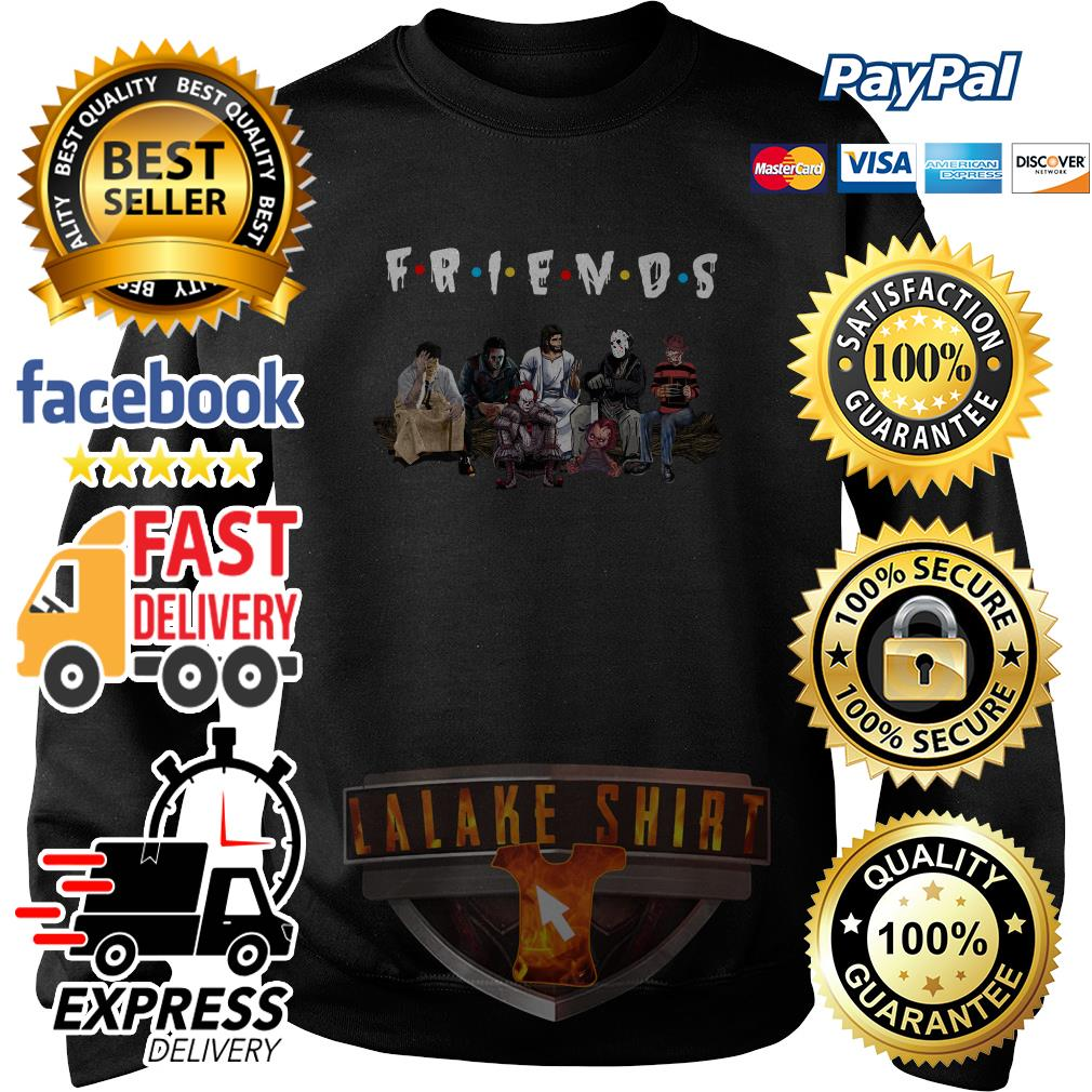 Halloween Friends TV Show horror movie characters and Jesus sweater