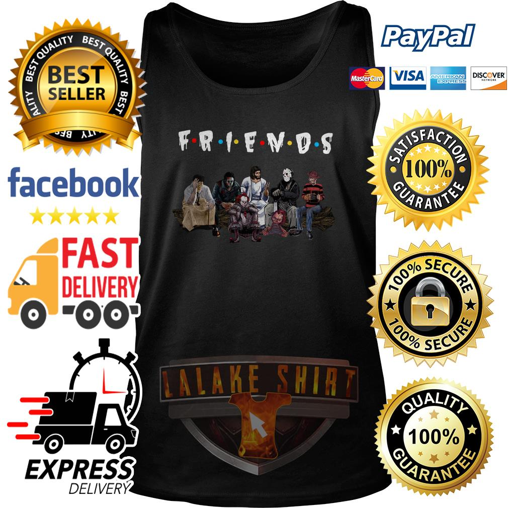 Halloween Friends TV Show horror movie characters and Jesus tank top