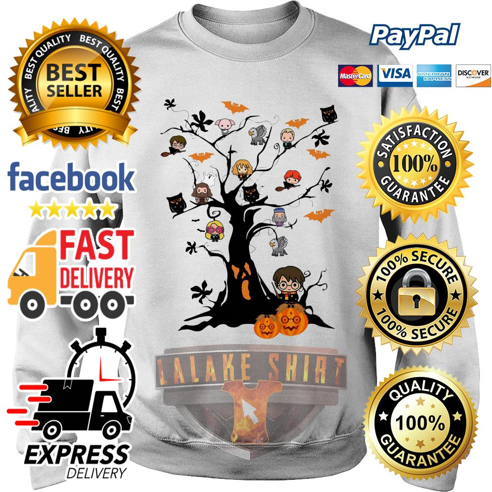Harry Potter characters on the tree Halloween sweater
