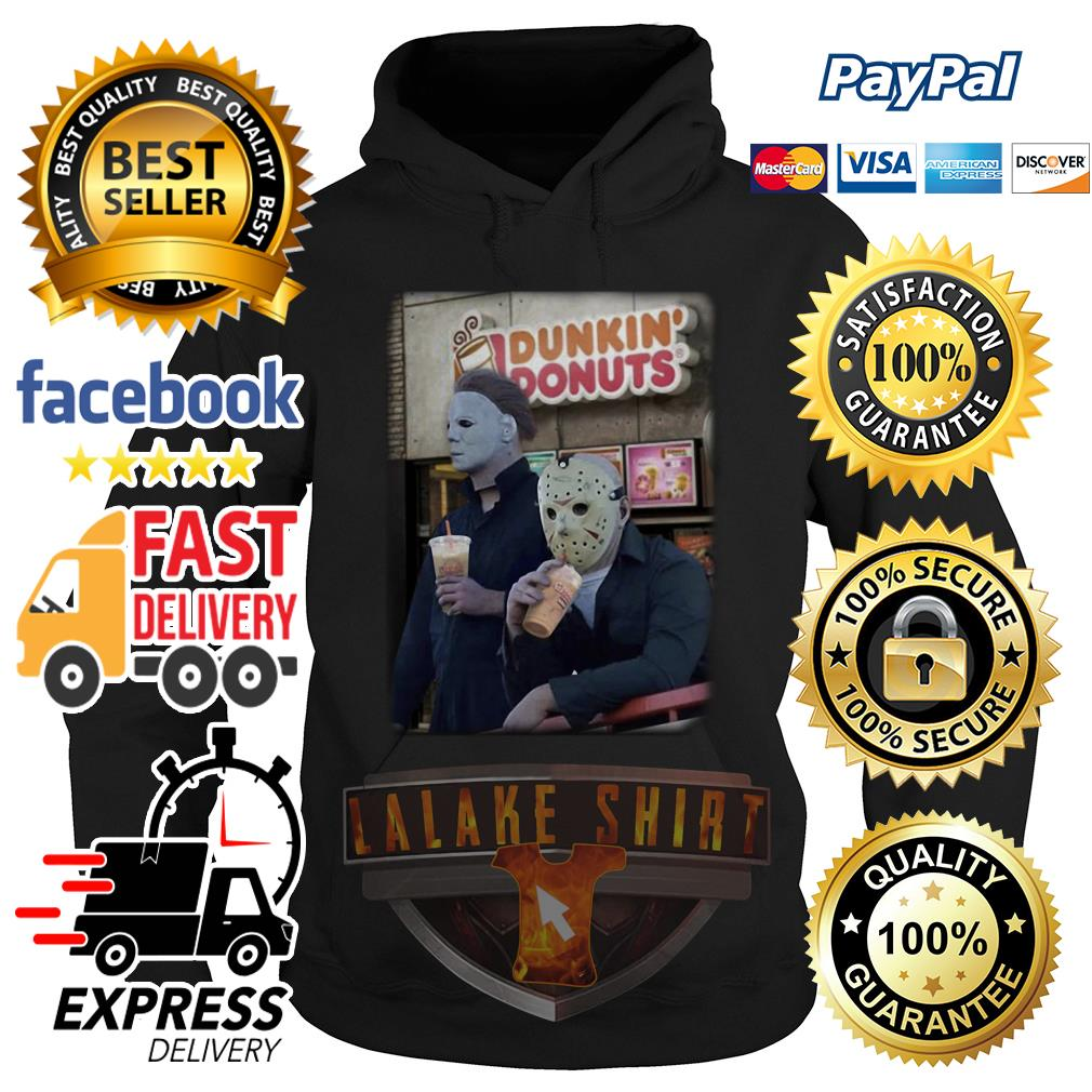 Michael Myers and Jason Voorhees drink dunkin' donuts hoodie