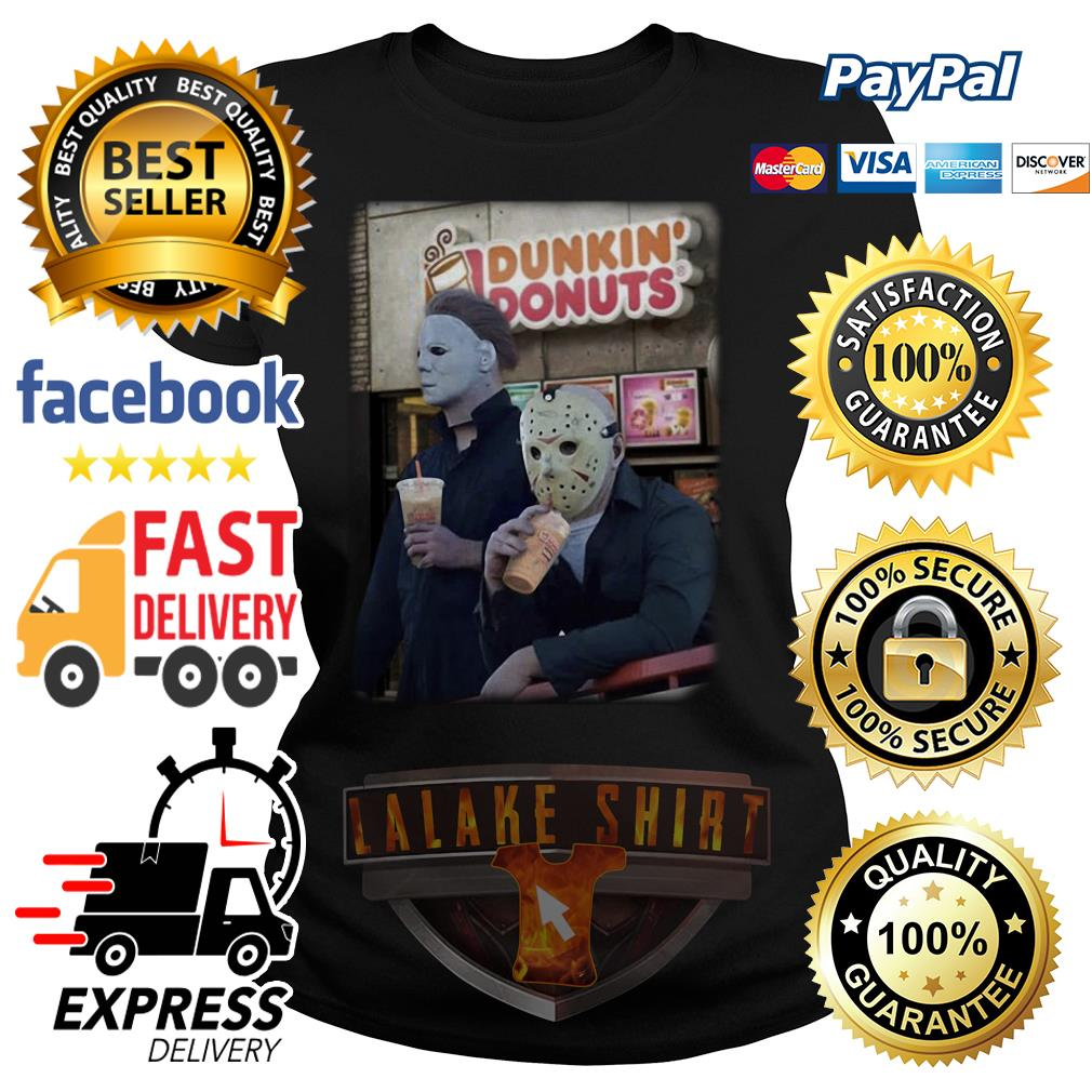 Michael Myers and Jason Voorhees drink dunkin' donuts ladies tee