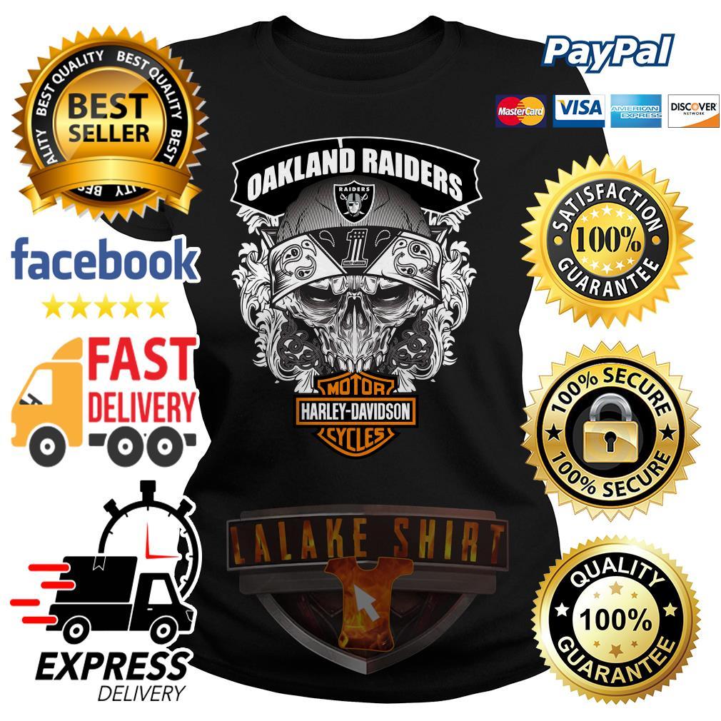 Oakland Raiders Motor Harley Davidson cycles ladies tee