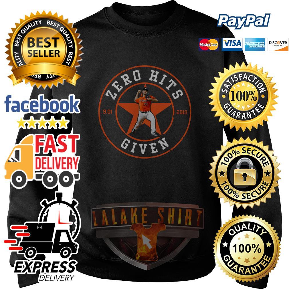 Zero Hits 9 01 2019 given Houston Astros sweater