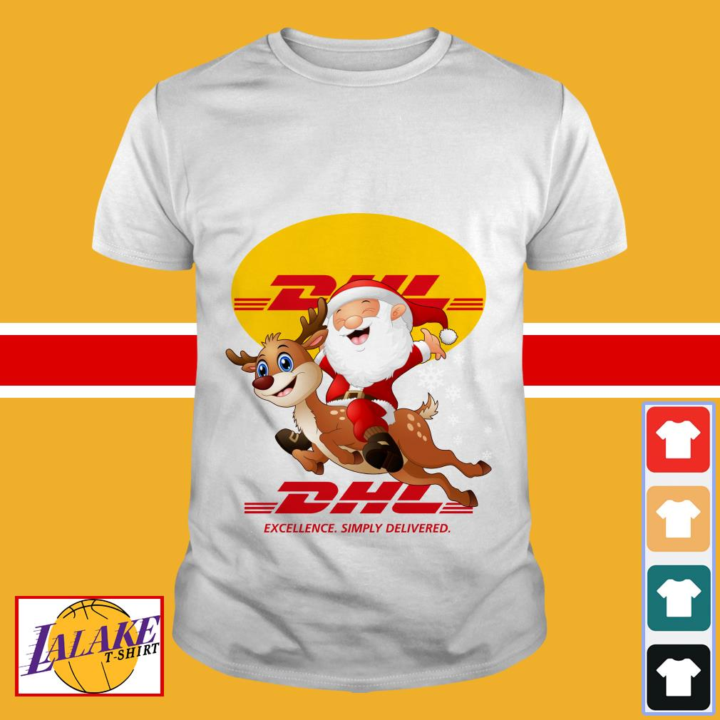 Santa Claus Riding Reindeer DHL Excellence Simply Delivered shirt