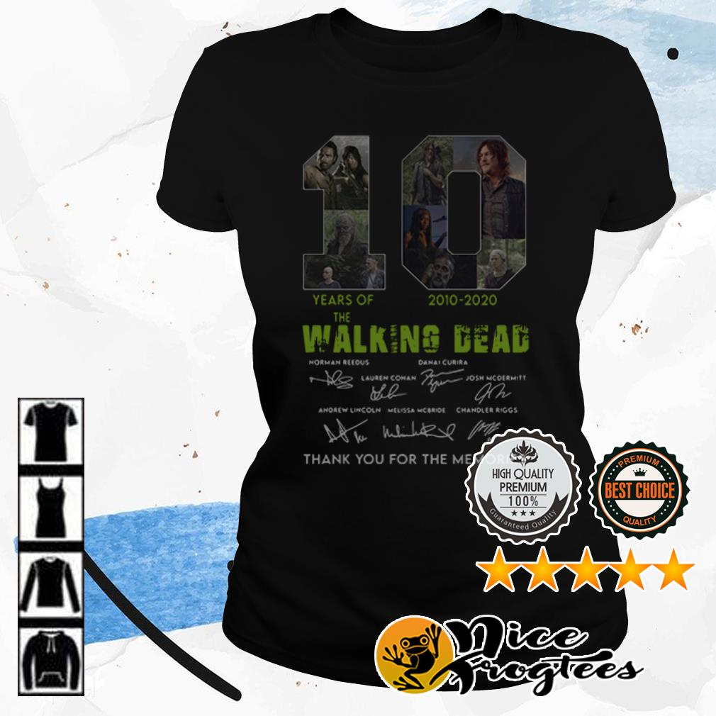 10 years of Walking Dead 2010 2020 thank you for the memories shirt