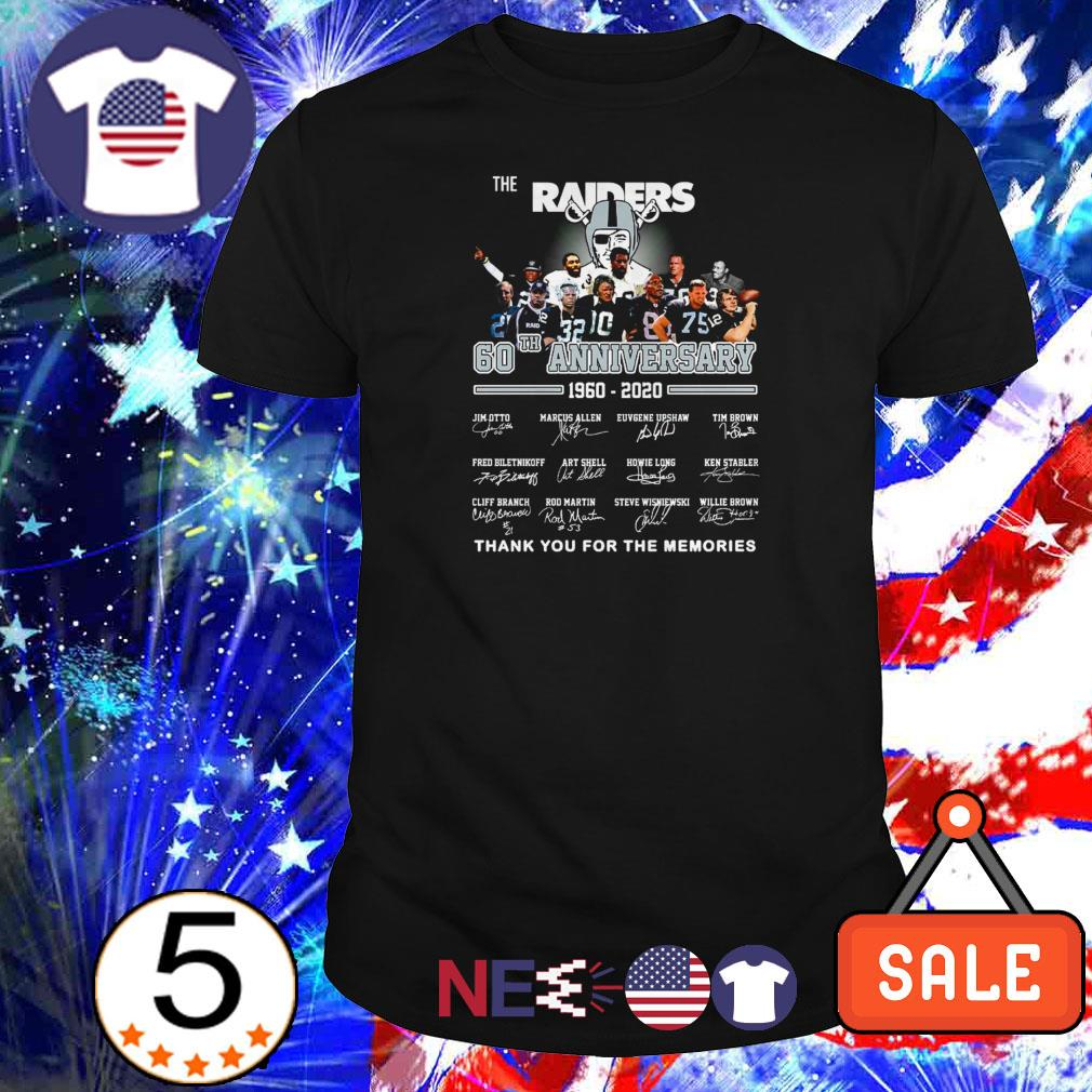 The Raiders 60th anniversary 1960 2020 thank you for the memories shirt