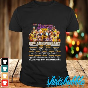 The Lakers 60th anniversary 1960 2020 signature thank you for the memories shirt