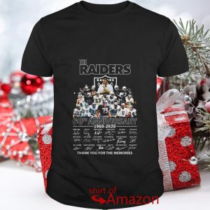 The Raiders 60th anniversary 1960 2020 signature thank you for the memories shirt
