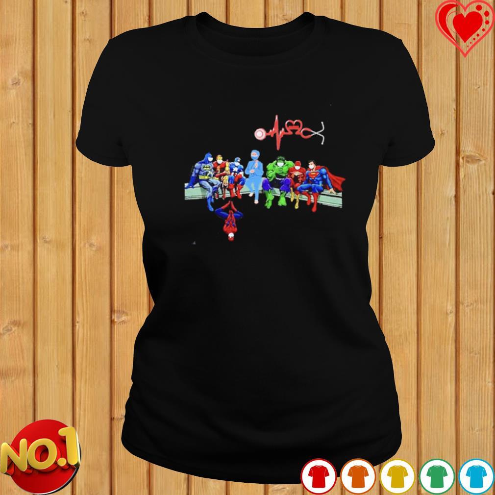 Heartbeat Nurse and Superheroes Covid-19 shirt
