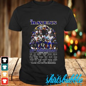 The Ravens 25th anniversary 1996 2021 signature thank you for the memories shirt