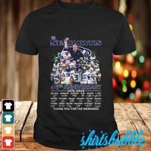 The Seahawks 46th anniversary 1974 2020 signature thank you for the memories shirt