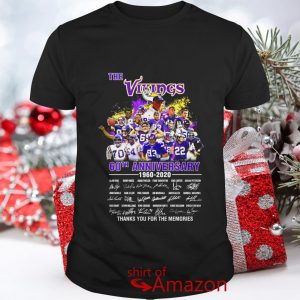 The Vikings 60th anniversary 1960 2020 signature thank you for the memories shirt