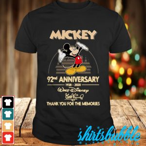 Walt Disney Mickey 92nd Anniversary 1928-2020 signature shirt