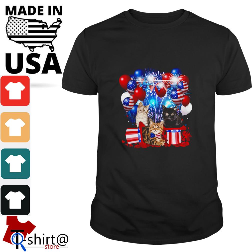 Cats Balloons Fireworks Independence Day 4th of July shirt