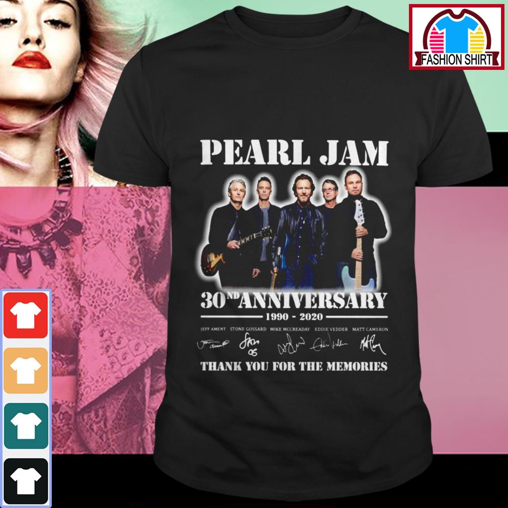 Official Pearl Jam 30nd anniversary 1990-2020 thank you for the memories shirt by tshirtat store