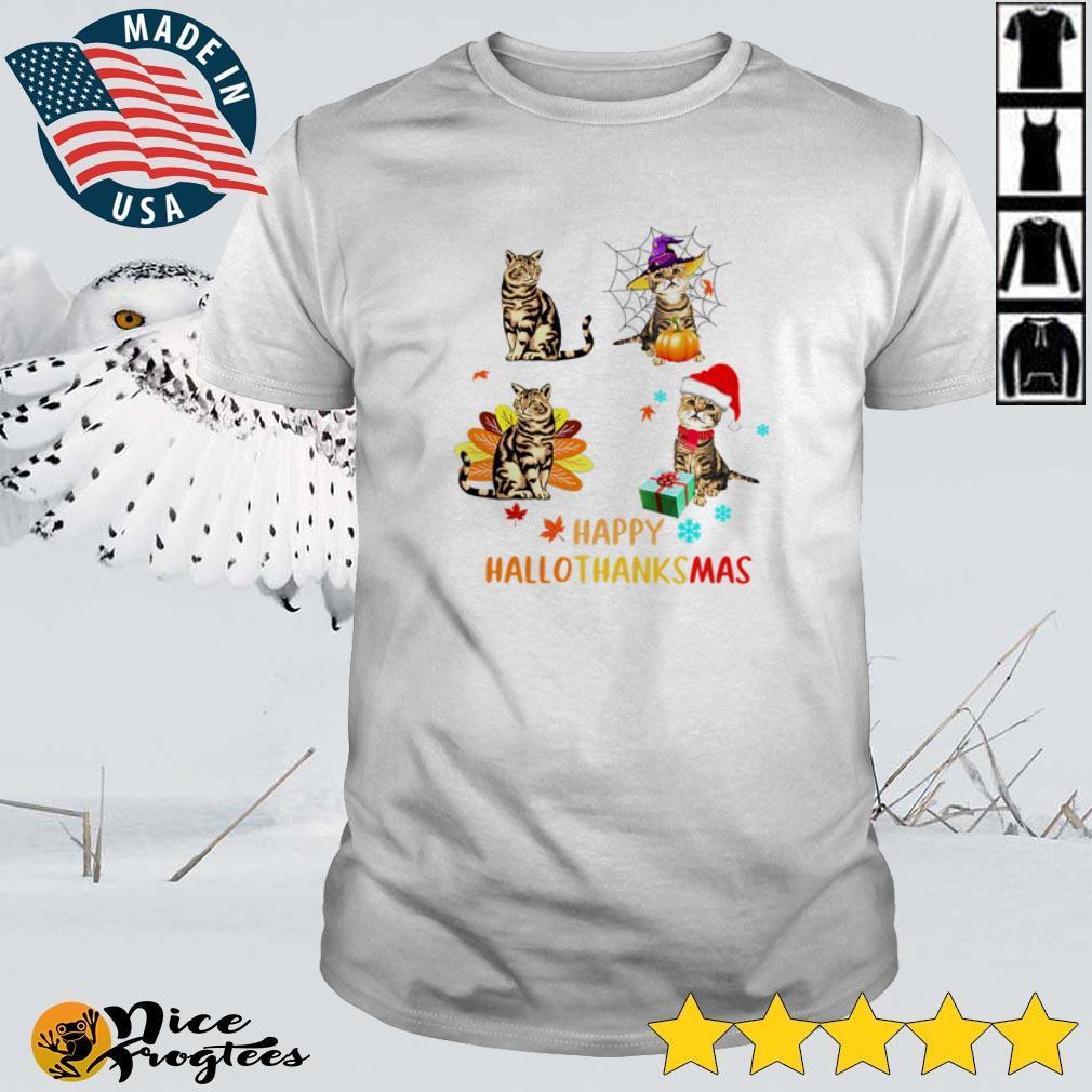 Top Happy HalloThanksMas Cat Halloween Thanksgiving Christmas shirt