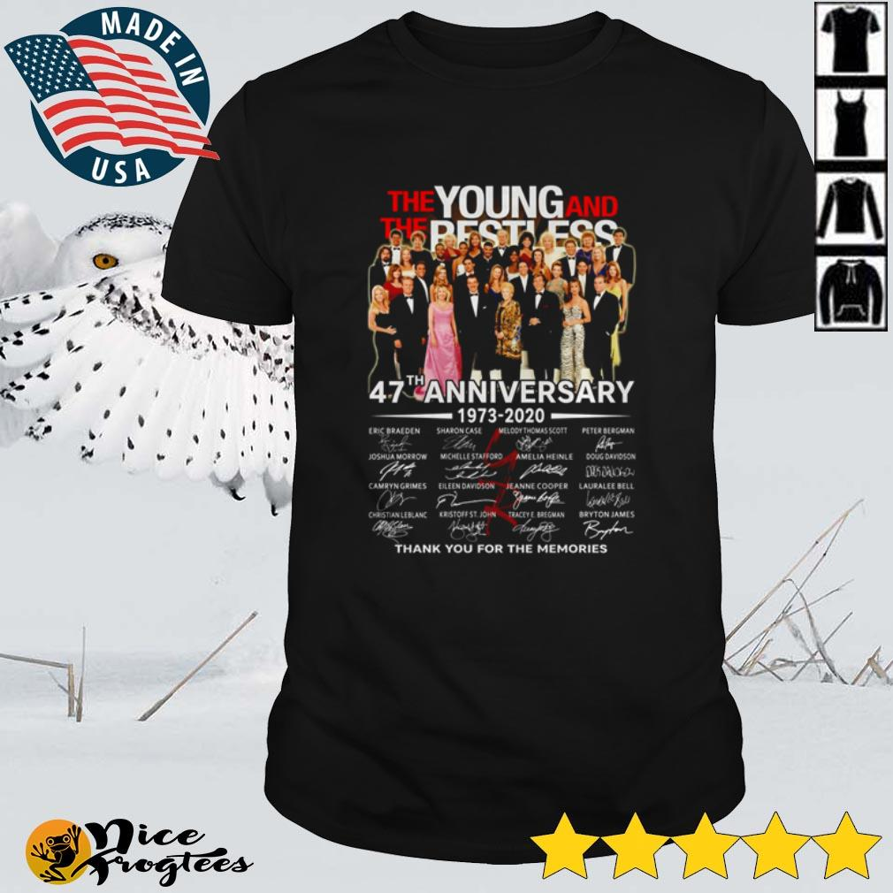 Top The Young and The Restless 47th anniversary 1973 – 2020 thank you for the memories shirt