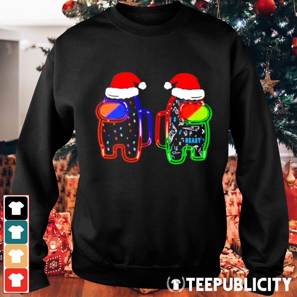 Beast neon Among Us Santa hat Christmas shirt